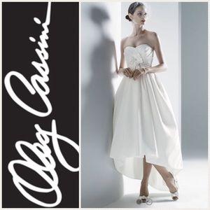 Oleg Cassini Soft White High-Lo Wedding Dress